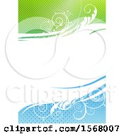 Background Of Floral Waves With Green And Blue Halftone
