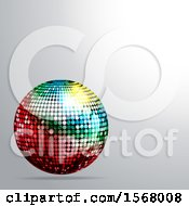 Clipart Of A 3d Colorful Disco Ball On A Gray Background Royalty Free Vector Illustration