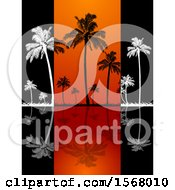 White And Black Silhouetted Palm Trees And Reflections On Black And Orange Panels