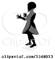 Clipart Of A Silhouetted Girl Ready To Catch A Ball With A Reflection Or Shadow On A White Background Royalty Free Vector Illustration