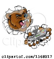 Clipart Of A Mad Grizzly Bear Mascot Holding A Video Game Controller And Breaking Through A Wall Royalty Free Vector Illustration
