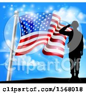 Clipart Of A Silhouetted Full Length Male Military Veteran Saluting Over An American Flag And Sky Royalty Free Vector Illustration