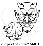Clipart Of A Black And White Grinning Evil Devil Holding Out A Basketball In A Clawed Hand Royalty Free Vector Illustration