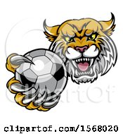 Tough Lynx Monster Mascot Holding Out A Soccer Ball In One Clawed Paw