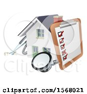Clipart Of A Home Inspection Check List On A Clip Board And Stethoscope Against A 3d White House Royalty Free Vector Illustration