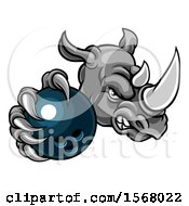 Poster, Art Print Of Tough Rhino Monster Mascot Holding Out A Bowling Ball In One Clawed Paw