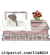Clipart Of A Cartoon Shocked Black Man Rising In A Casket Royalty Free Vector Illustration
