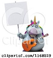 3d Chubby Unicorn Holding A Guitar On A White Background