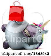 Clipart Of A 3d Chubby Unicorn Holding A Shopping Bag On A White Background Royalty Free Illustration