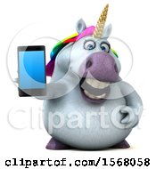 3d Chubby Unicorn Holding A Cell Phone On A White Background
