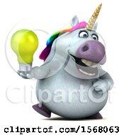 3d Chubby Unicorn Holding A Light Bulb On A White Background