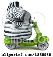 Clipart Of A 3d Zebra Riding A Scooter On A White Background Royalty Free Illustration