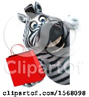 Clipart Of A 3d Zebra Holding A Shopping Bag On A White Background Royalty Free Illustration