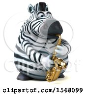 3d Zebra Playing A Saxophone On A White Background