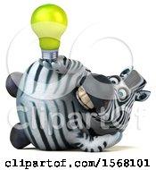 3d Zebra Holding A Light Bulb On A White Background