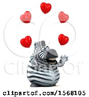 Poster, Art Print Of 3d Zebra Holding Hearts On A White Background