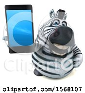 Clipart Of A 3d Zebra Holding A Cell Phone On A White Background Royalty Free Illustration by Julos