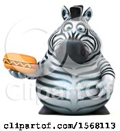 Clipart Of A 3d Zebra Holding A Hot Dog On A White Background Royalty Free Illustration by Julos