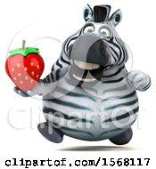 Clipart Of A 3d Zebra Holding A Strawberry On A White Background Royalty Free Illustration by Julos