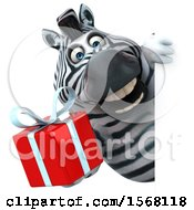 Clipart Of A 3d Zebra Holding A Gift On A White Background Royalty Free Illustration by Julos