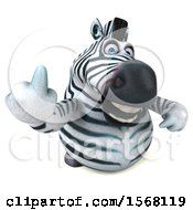 Clipart Of A 3d Zebra Holding Up A Middle Finger On A White Background Royalty Free Illustration by Julos