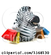 Clipart Of A 3d Zebra Carrying Shopping Bags On A White Background Royalty Free Illustration by Julos