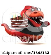 Clipart Of A 3d Red Business T Rex Dinosaur Holding A Birthday Cake On A White Background Royalty Free Illustration
