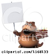 Poster, Art Print Of 3d Brown T Rex Dinosaur Holding A Birthday Cake On A White Background