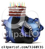 Clipart Of A 3d Blue Business T Rex Dinosaur Holding A Birthday Cake On A White Background Royalty Free Illustration