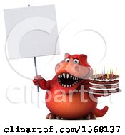 Poster, Art Print Of 3d Red T Rex Dinosaur Holding A Birthday Cake On A White Background
