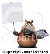 Clipart Of A 3d Chubby Brown Horse Holding A Plane On A White Background Royalty Free Illustration