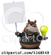 Poster, Art Print Of 3d Chubby Brown Business Horse Holding A Light Bulb On A White Background