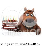 Poster, Art Print Of 3d Chubby Brown Horse Holding A Birthday Cake On A White Background
