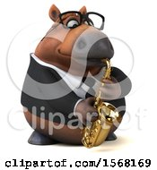 3d Chubby Brown Business Horse Playing A Saxophone On A White Background