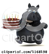 Poster, Art Print Of 3d Chubby Black Horse Holding A Birthday Cake On A White Background