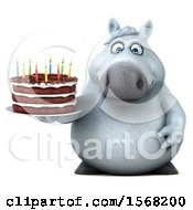 3d Chubby White Horse Holding A Birthday Cake On A White Background by Julos
