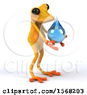 3d Yellow Frog Holding A Water Drop On A White Background