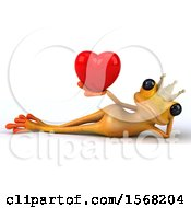 3d Yellow Frog Prince Holding A Heart On A White Background