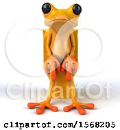 3d Yellow Frog Sitting On A Toilet On A White Background