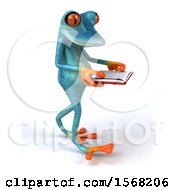 3d Blue Frog Walking And Reading A Book On A White Background