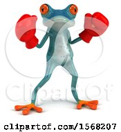 3d Blue Frog Wearing Boxing Gloves On A White Background