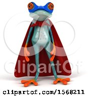 3d Blue Frog Super Hero On A White Background