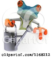 3d Blue Frog Holding A Watering Can On A White Background