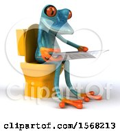 3d Blue Frog Reading On A Toilet On A White Background