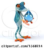 3d Blue Frog Holding A Water Drop On A White Background