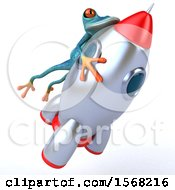 3d Blue Frog Riding A Rocket On A White Background