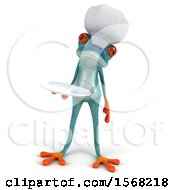 3d Blue Frog Chef Holding A Plate On A White Background