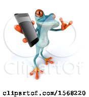 3d Blue Frog Holding A Cell Phone On A White Background