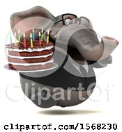 3d Business Elephant Holding A Birthday Cake On A White Background