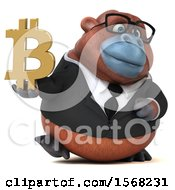 3d Business Orangutan Monkey Holding A Bitcoin Symbol On A White Background